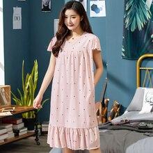 Chemise de nuit pour femme, chemise de nuit à motif Floral, manches courtes, en coton, grande taille 3XL, 2020
