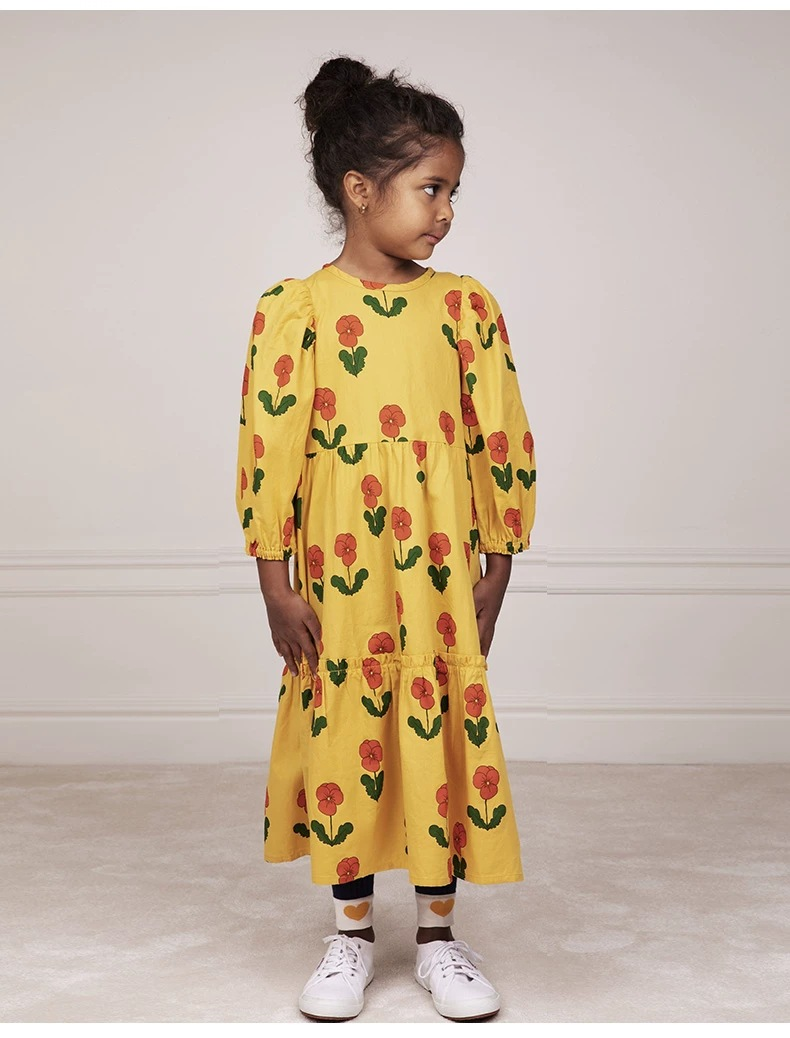 2021 New Autumn Winter Rose Note Dresses MR Brand Baby Girl Clothes Christmas Dress Kids Toddler Girls Cardigan Children Fashion 5