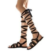 Женские сандалии на каблуке с завязками женская обувь на плоской подошве летние женские сандалии-гладиаторы до колена большого размера Женская обувь 2121 размера плюс