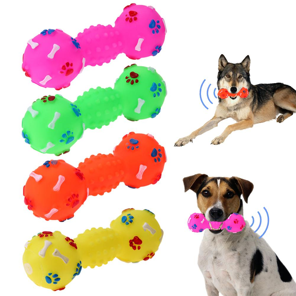 1pcs Colorful Pet Dog Cat Toy Puppy Sound Polka Dot Squeaky Toy Rubber Dumbbell Chewing Funny Toy For Dogs Drop Shipping