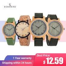 Bobo pássaro relógios masculinos de madeira artesanal quartzo relógios de pulso pulseira de couro homem relógio de madeira leve relogio masculino