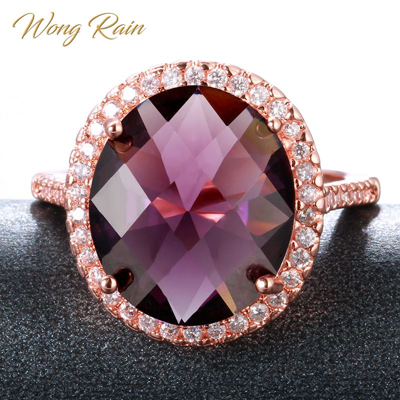 Wong Rain Vintage 925 Sterling Silver Amethyst Gemstone Wedding Engagement Rose Gold Ring Fine Jewelry Wholesale Drop Shipping