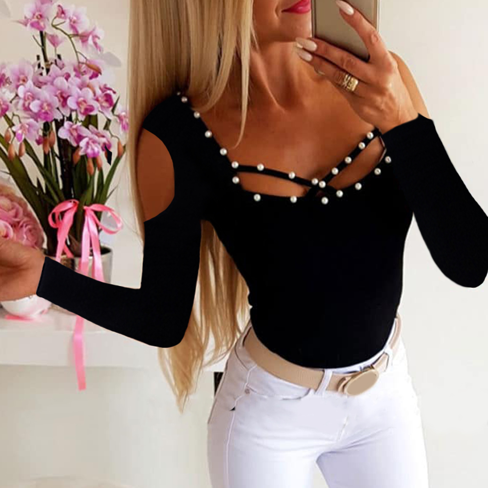 Tee Shirt Femme Knitted Long Sleeve Beaded Women T-shirt Autumn Fall 2019 Casual Lady Hollow Out Slim Fit Tops Sexy Tshirt D35