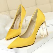 Woman Pumps Heel Wedding-Shoes Transparent Large-Size Women's Female Sexy Concise 34-43