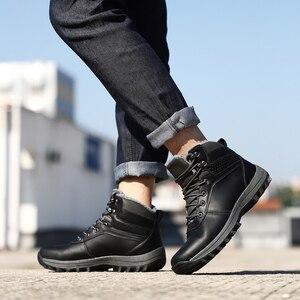 Image 3 - QGK zimowe ciepłe męskie buty z prawdziwej skóry futro Plus size mężczyźni śnieg buty Handmade wodoodporna pracy kostki buty wysokiej góry męskie buty