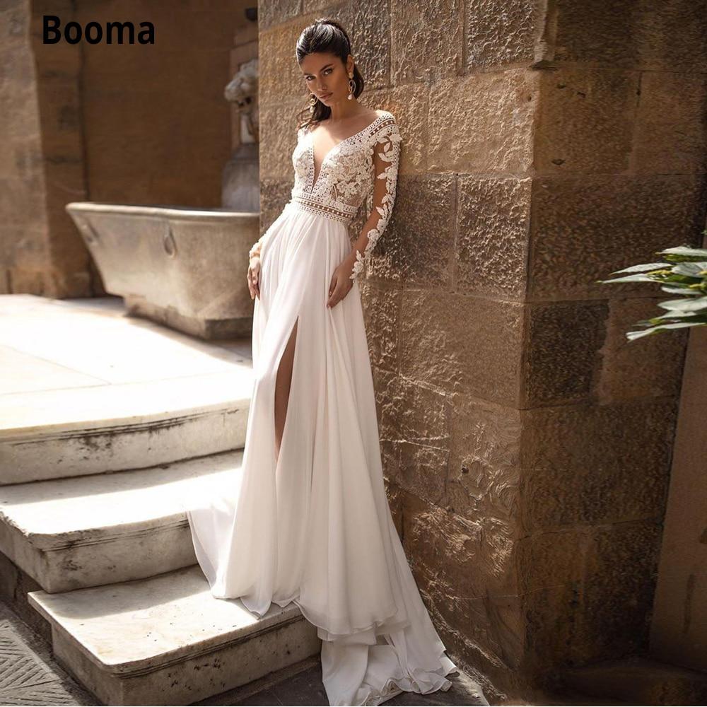 Booma Chiffon Beach Wedding Dresses Boho Lace Backless Sheer V Neck Long Sleeves Side Split Bohemia Wedding Bridal Gowns Custom