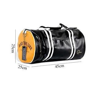 Image 2 - New Men Soft Leather Barrel Travel Bag Fashion High Capacity Bag For Men Waterproof Shoulder Luggage Bolsa Deporte Duffel Bag