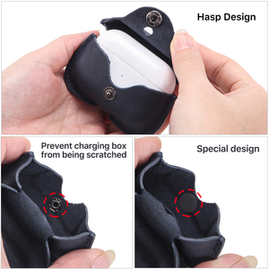 Image 4 - Genuine Leather Case For AirPods Pro coque Bluetooth Earphone Protective Cover Charging boite For Air pods 3 Pro Cases Keyring