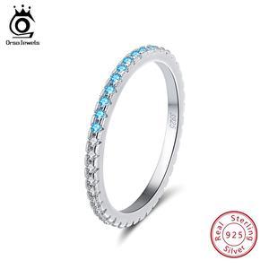 Image 1 - ORSA mücevher 925 gümüş parmak yüzük kadınlar için istiflenebilir maç düğün Band bildirimi gümüş 925 takı kızlar için SR60