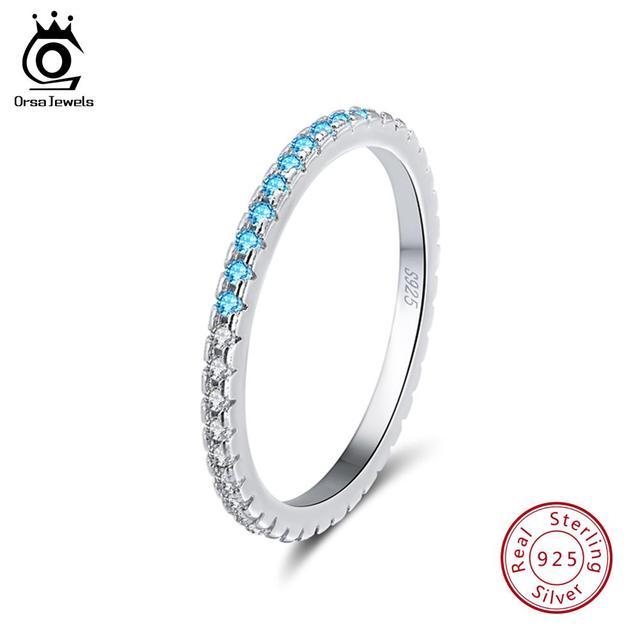 ORSA mücevher 925 gümüş parmak yüzük kadınlar için istiflenebilir maç düğün Band bildirimi gümüş 925 takı kızlar için SR60