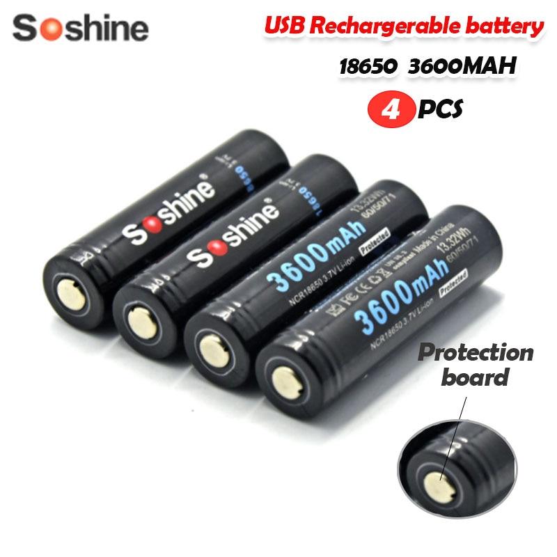 Литий-ионный перезаряжаемый аккумулятор Soshine 3,7 в, 3600 Вт-ч, мАч, NCR18650, с защитой Micro-Usb, 4 шт.