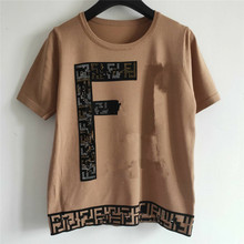 2021 New Summer Women T-Shirt Female Luxury Brand Tops Ladies High Quality Wool Fashion Casual Letter Plaid Embroidered Tees