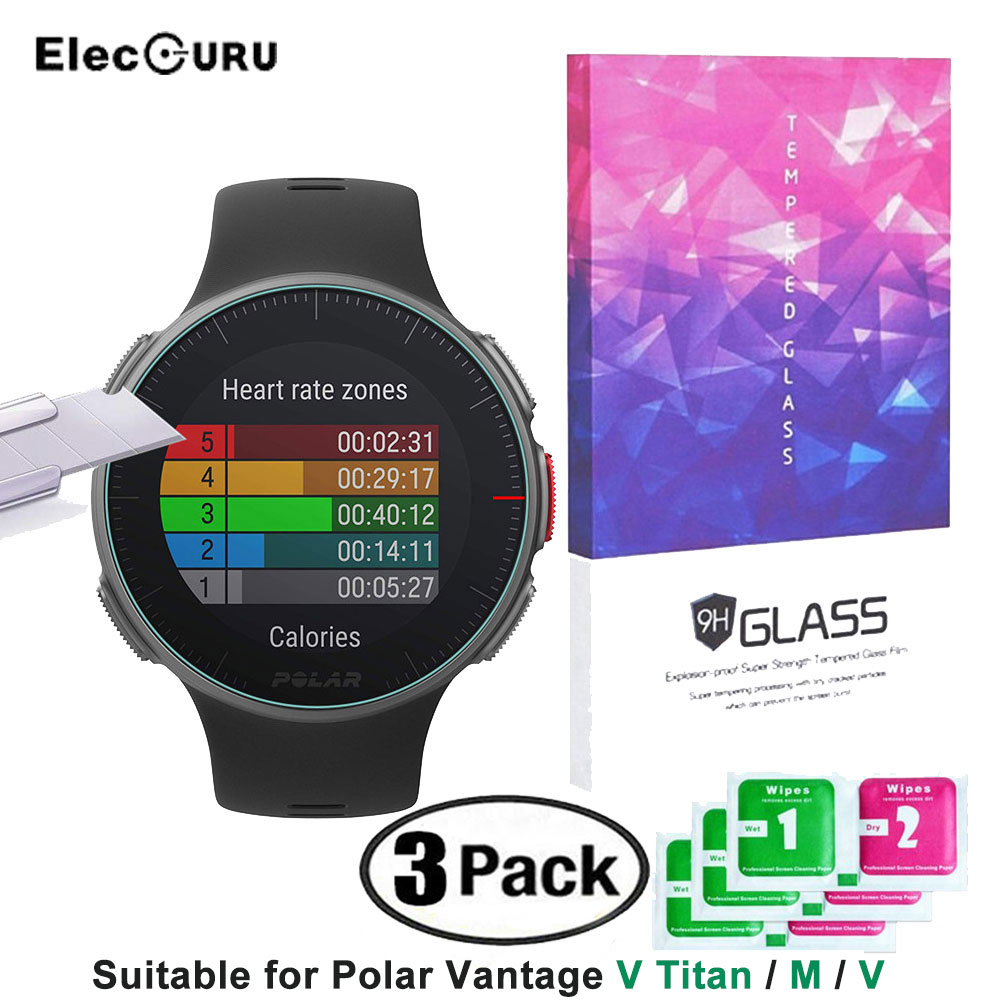 Polar Vantage M Screen Protector 9H Tempered Glass Protective Film for Polar Vantage M/V/V Titan Watch,Smartwatch Accessories