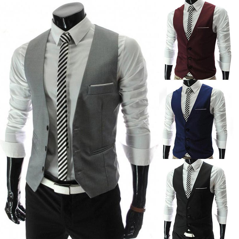 Wine Red Comfortable Elastic Black Soft Dress Vests For Men Slim Fit Mens Navy Blue Gray Large Size New Arrival 1PC