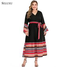 Seluxu 2019 Autumn Plus Size Women Dress vestidos Dress Long Sleeve Floral Print Patchwork Dress Elegant Large Size Women Dress