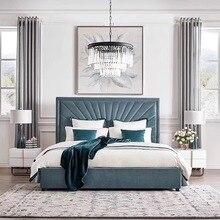 Современная спальня под заказ отель кровать фабрика king queen размер роскошная кровать кожа ткань льняная мебель для спальни