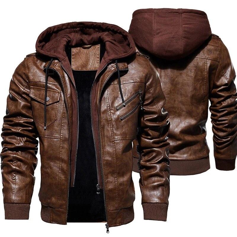 Men/'s Motorcycle Jacket Bomber Fur Collar Fleece Lined Winter PU Leather Coat