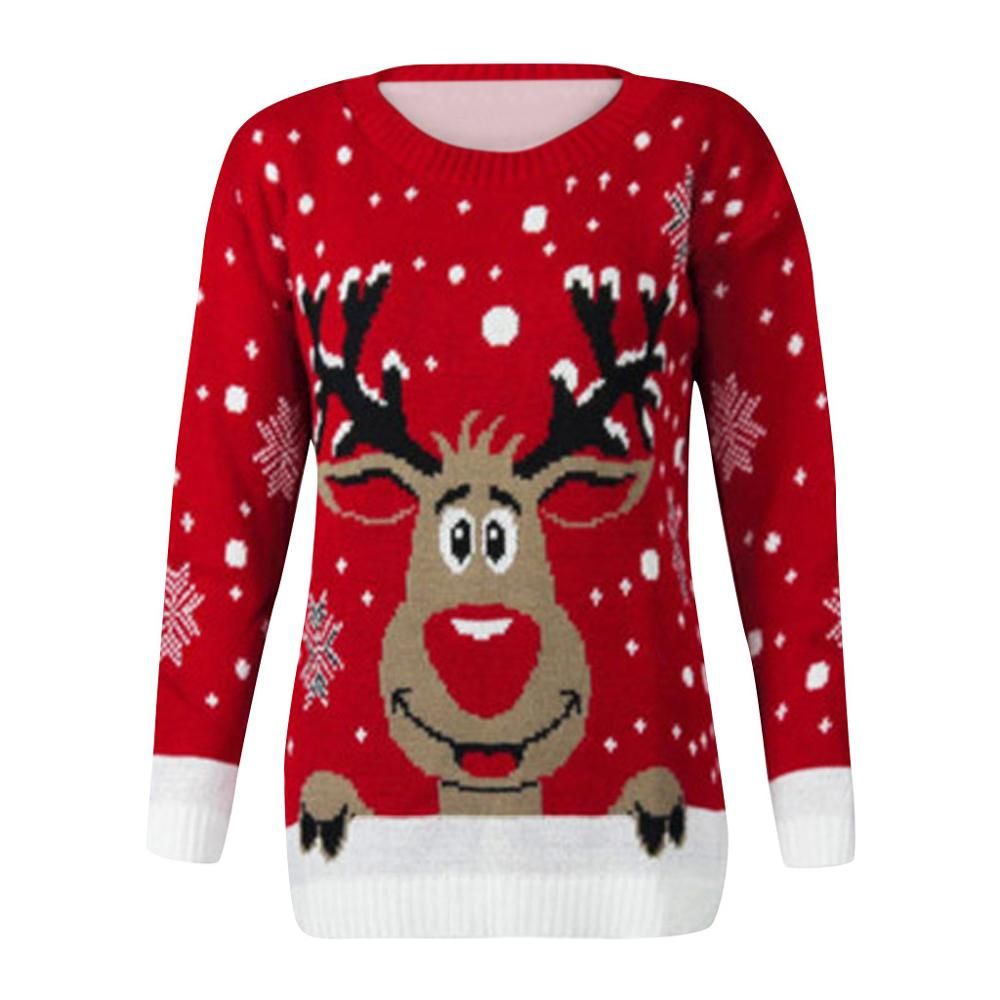 New Christmas Reindeer Printed Sweater/Sweatershirts Popular Women O-Neck Long Sleeve Tops Womens Autumn Winter Casual Clothes