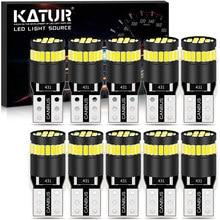 Katur 10x W5W T10 LED في Canbus لمبة لا OBC خطأ التخليص وقوف السيارات لبيجو 206 207 307 3008 2008 308 408 508 301 208