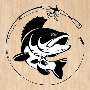 14.1CM*14.3CM Fishing Rod Hobby Fish Vinyl Car Sticker Black White Auto Body Sticker Decor image