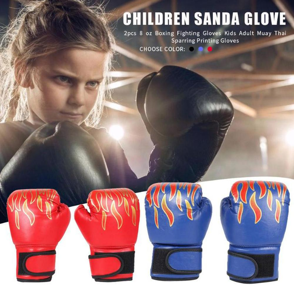 1 Pair Children Boxing Gloves Professional Flame Mesh Breathable PU Leather Flame Kids Gloves Sanda Boxing Training Glove