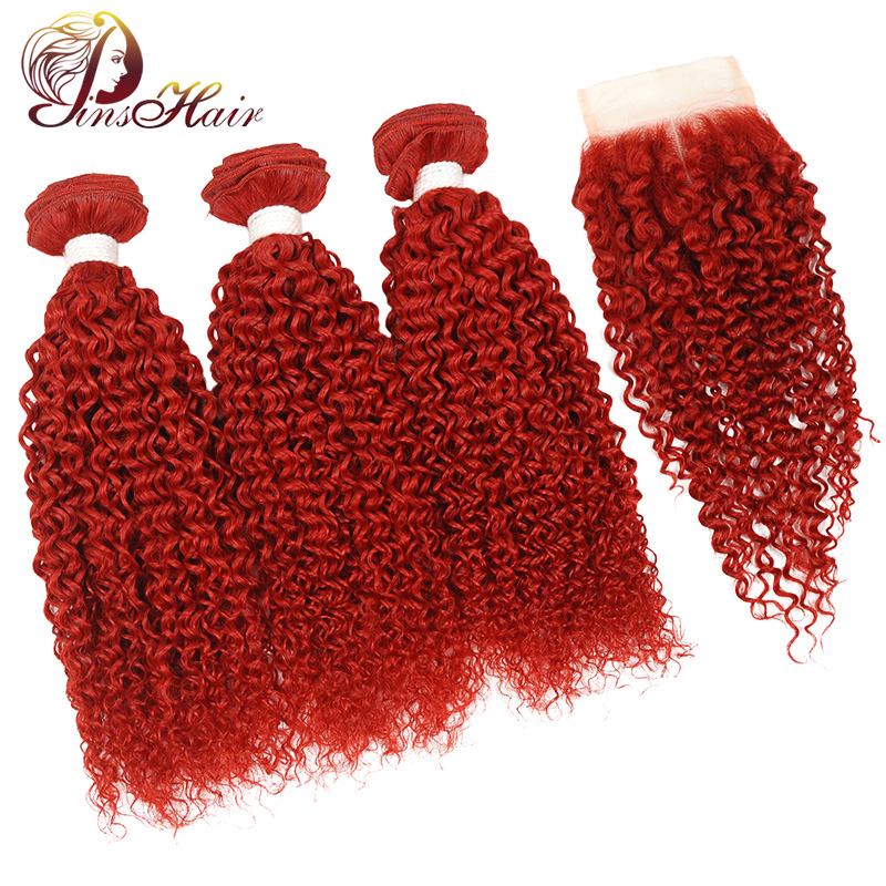 Pinshair Colored Brazillian Hair Bundles With Closure Burgundy Red Kinky Curly Bundles Human Hair 3 Bundles With Closure Nonremy
