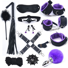 12Pcs/set BDSM Sex Bondage Set With Metal Anal Tail Fox Handcuffs for Sex Mask Whip Erotic Toys Adult Women Couples Porn Game