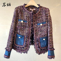 New Small Fragrance Overcoat Autumn Winter Tweed Patchwork Tassel Coat Vintage Women Weave Fringe Retro Jacket Coat