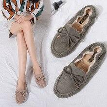 Giày Nữ Giày Moccasin Mùa Đông Cho Nữ 2020 Phụ Nữ Giày Lông Mũi Tròn Ba Lê Đế Đen Xanh Cuộn Mềm Trứng Đậu Hà Lan mẹ Giày