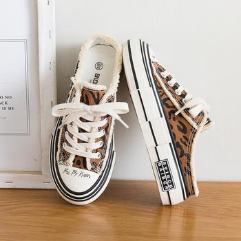 Kobieta moda buty płótno wulkanizowane Gumshoes Zebra nadruk z krową bez pleców trampki szykowny stylowy obuwie Leopard dobrej jakości tanie i dobre opinie Shining Stone PŁÓTNO CN (pochodzenie) Med (3 cm-5 cm) Frędzle Mieszane kolory Dla osób dorosłych Fabric Na wiosnę jesień