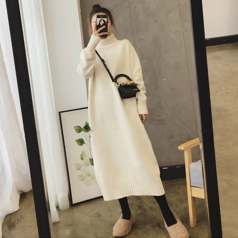 Женское трикотажное платье свитер с высоким воротником, однотонное платье на осень и зиму, теплое вязаное женское платье, свободное платье средней длины, платья больших размеров|Платья| | АлиЭкспресс
