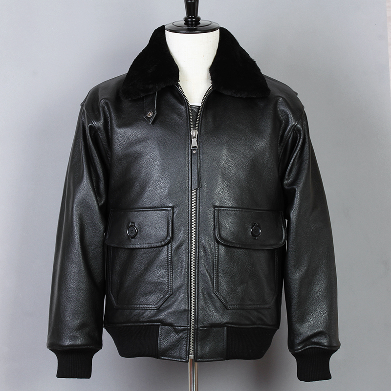 Avirex fly Motorcycle Genuine Leather Men Cowskin Air force Flight Jackets G1 Fur collar Bomber Jacket Winter Coat