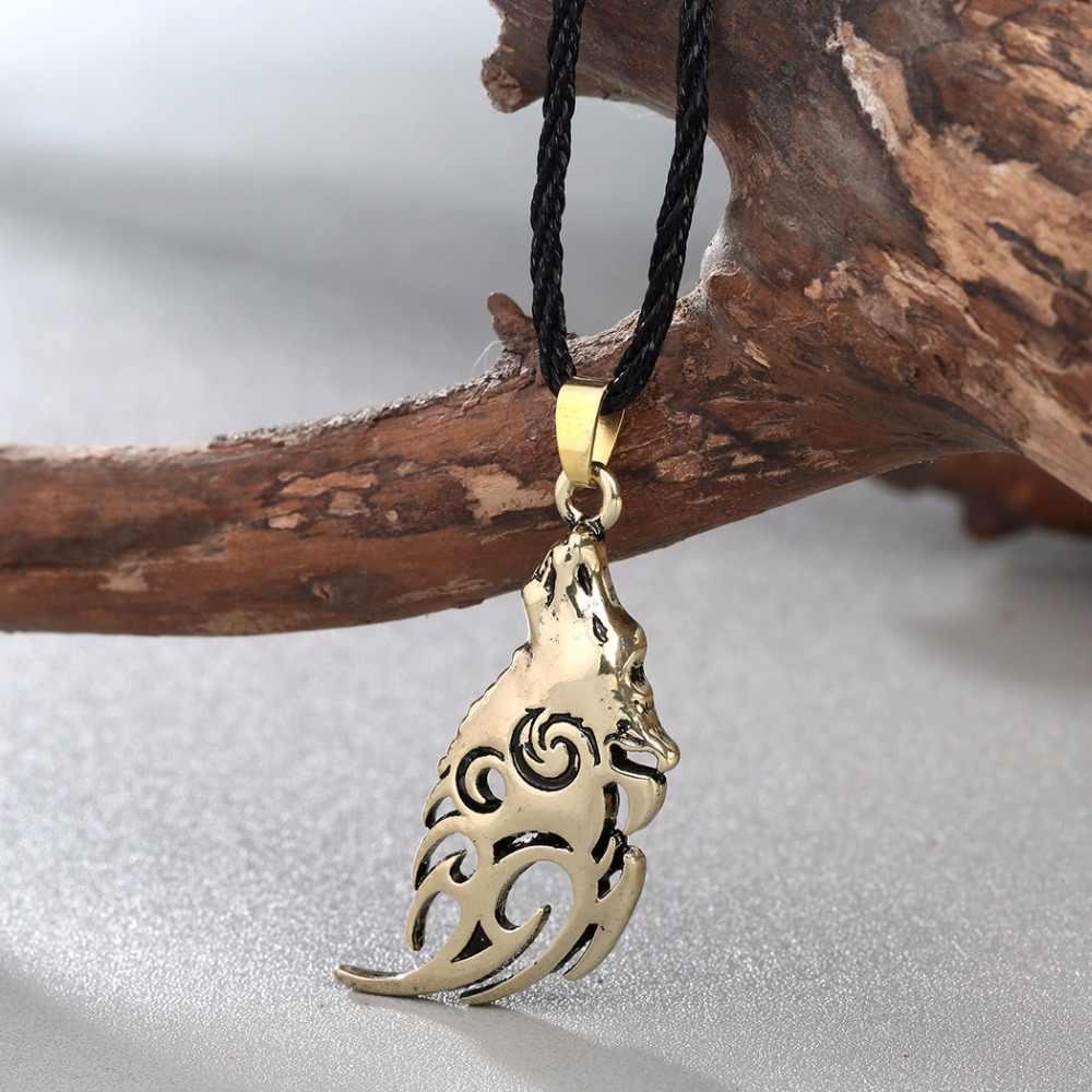 Nowy Norse głowa wilka naszyjnik kobiety oryginalny zwierząt Valknut Vikings naszyjniki Amulet Colier mężczyzna Punk nieskończoność Bijoux