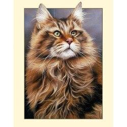 GATYZTORY 5D diamentowe malowanie pełne kwadratowe dekoracje dla domu DIY mozaika obraz ze strasu własne LOGO płótno Wall Art Longhair cat