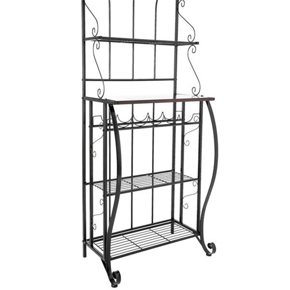 5 tier metal cozinha rack de metal cozinha padeiros decoração para prateleira de armazenamento de cozinha para sala de estar - 6