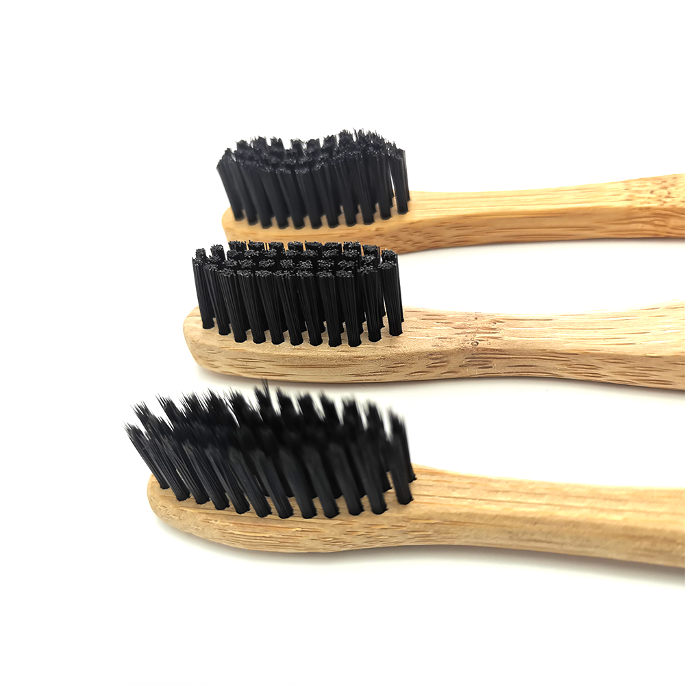 3 Style Bamboo Charcoal Toothbrush Biodegradable Teeth Brush Banister Brush/ Wave Shape Teethbrush Moderate Hardness/ Flat Brush