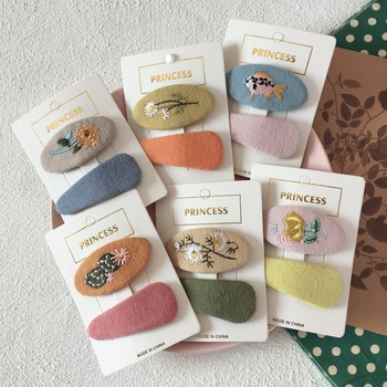 Korea Simple Cute Children Hair Pins Matte Cartoon Fruit Plant Fabric Embroidery BB Clips for Girl Fashion Accessories - discount item  40% OFF Headwear