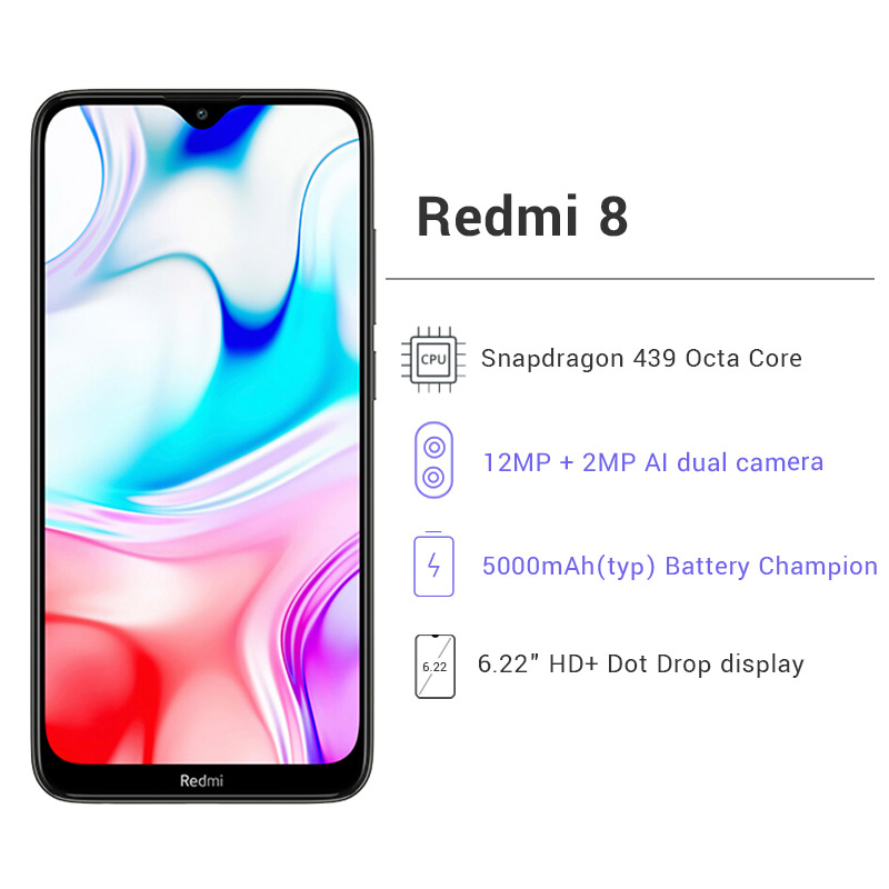 Image 5 - New Global Version Xiao Redmi 8 Smartphone 4GB RAM 64GB ROM Snapdragon 439 10W Fast Charging 5000 mah Battery Cellphone-in Cellphones from Cellphones & Telecommunications