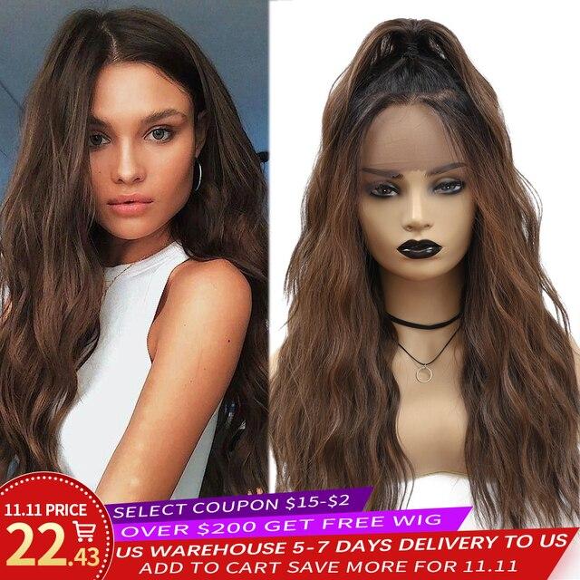 סינטטי תחרה מול פאות Ombre חום שחור צבע טבעי גל ארוך משלוח חלק שיער פאה לנשים שחורות חום עמיד x TRESS