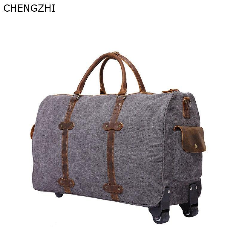 Bolso de viaje con ruedas de cuero y Caballo loco para hombre, bolso de mensajero portátil retro multifunción, bolso de viaje de lona para hombre - 6