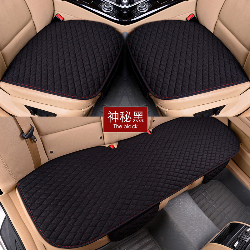 Flax Car Seat Covers Front Rear/ Full Set Linen Fabric Seat Pad Cover 7