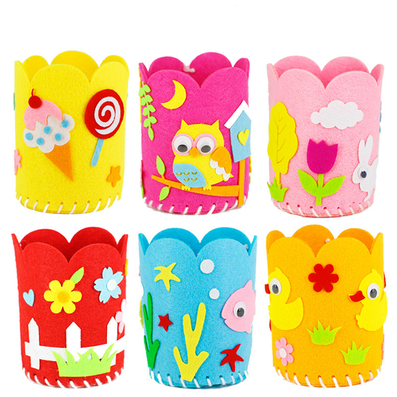 2020 New Cartoon Non-woven Pen Holder Kindergarten Handmade DIY Craft Toys Set Children's Three-dimensional Kids Arts For Child