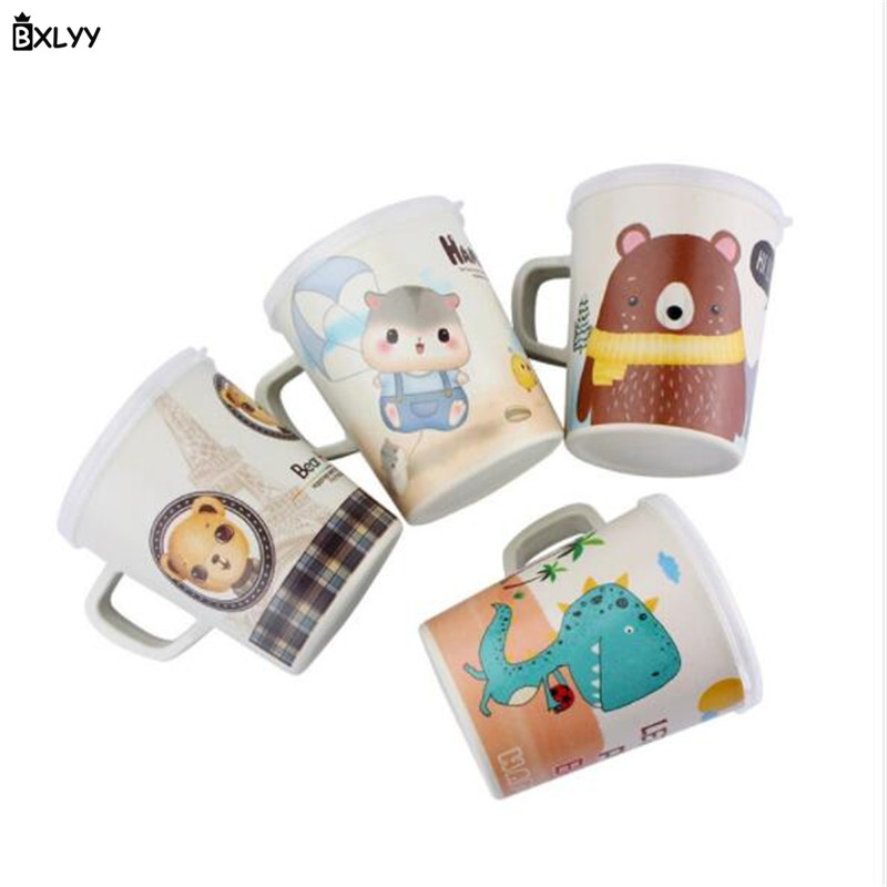 BXLYY 340ml Cartoon Bamboo Fiber Children's Water Cup Home Anti-fall Milk Cup Kitchen Accessories Gift Christmas Baby Shower.85z