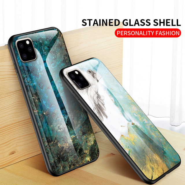 KEYSION Marble Tempered Glass Case for iPhone 11/11 Pro/11 Pro Max 2