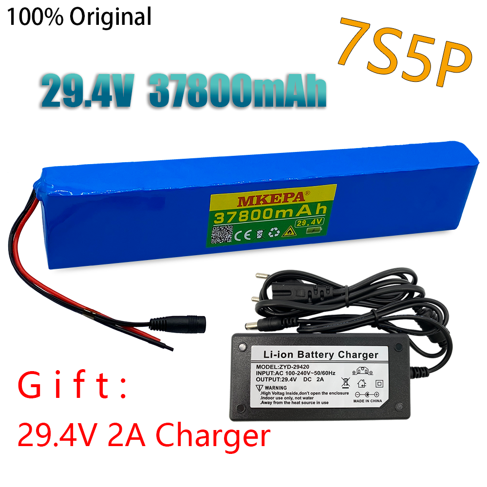 7S5P 29.4V 37.8Ah electric bicycle motor ebike scooter 24 V Li ion battery pack 18650 lithium rechargeable batteries +2a Charger