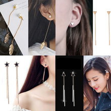 Drop-Earrings Ear-Line Star-Top Minimalist Korean Triangle Women Oorbellen Pearl