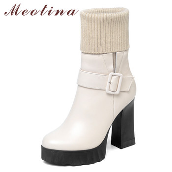 Meotina Winter Ankle Boots Women Natural Genuine Leather Zipper Thick Heel Short Boots Buckle Super High Heel Shoes Lady Size 39