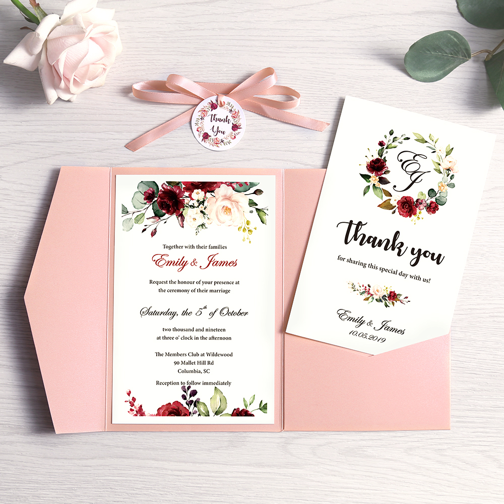 100pcs Blue Pink Burgundy Greeting Cards with Envelope Customized Party Wedding Invitations with Ribbon and Tag, DH0001