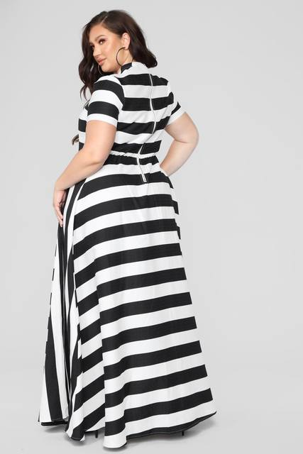 Oversized Women Maxi Short Sleeves Floor Length Casual Dress Plus Size Ladies Summer Stripes Party Tall Beauty Vestido 2