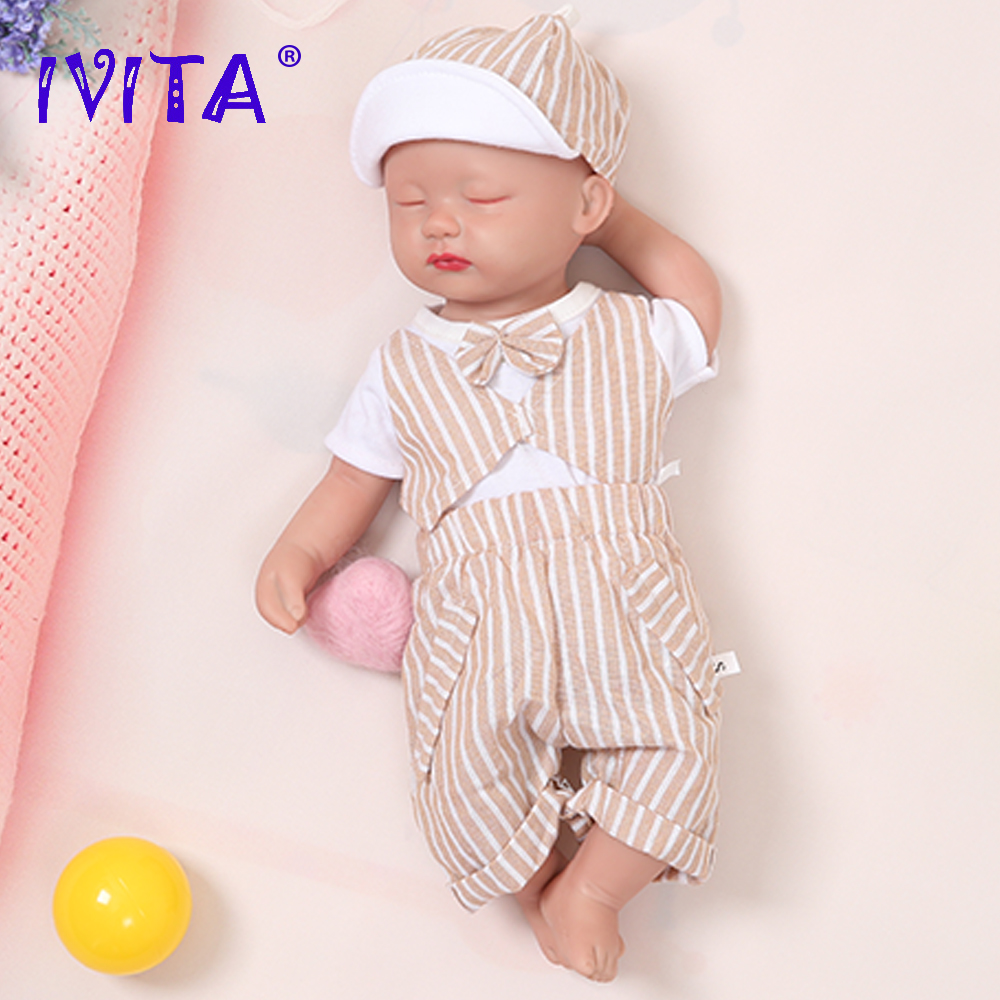 IVITA WB1509 38 см 1,8 кг закрытые глаза для мальчиков высокое качество силиконовая кукла для новорожденных реалистичные живые игрушки для подарка ...